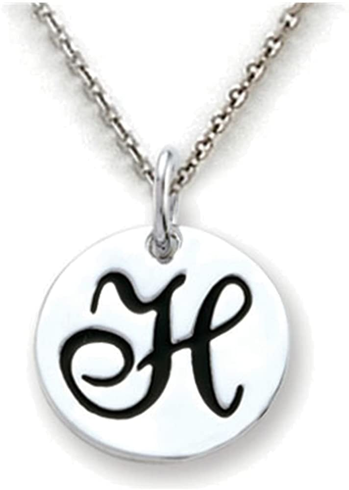 Stellar White Script Initial Disc Personalized Alphabet Pendant Necklace -16 to 18 Inch Adjustable C