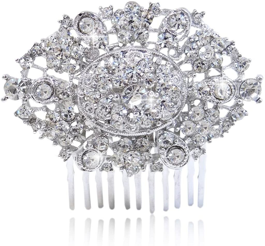 EVER FAITH Women's Austrian Crystal Wedding Art Deco Teardrop Statement Hair Comb Clear Silver-Tone