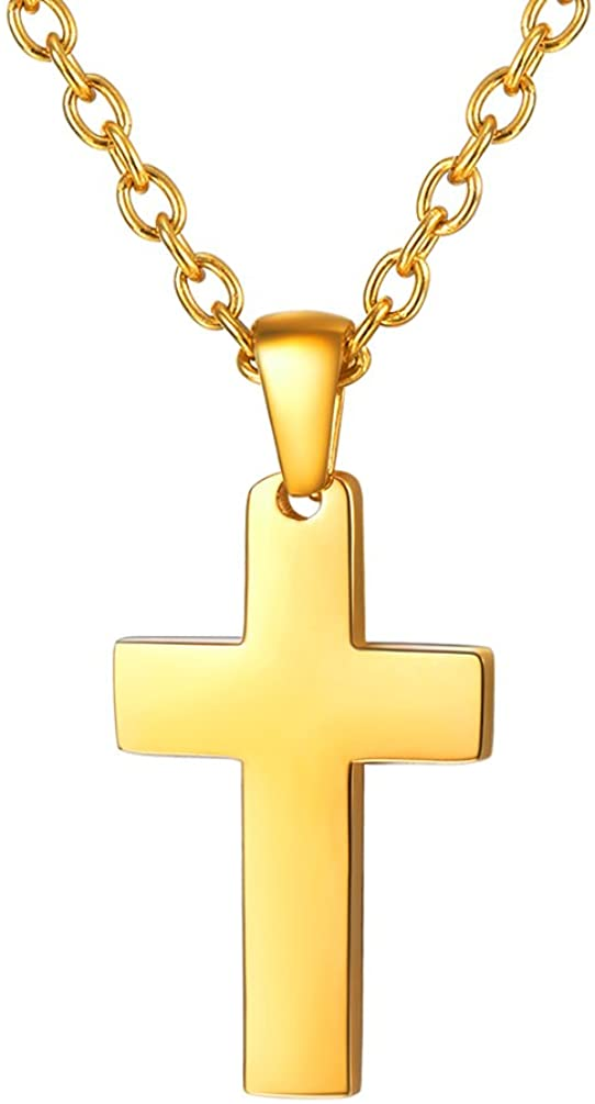 PROSTEEL Cross Necklace for Men Women, 316L Stainless Steel,Gold/Silver/Black/Rose Gold/Blue Tone, Hypoallergenic, Two Sizes, Come Gift Box