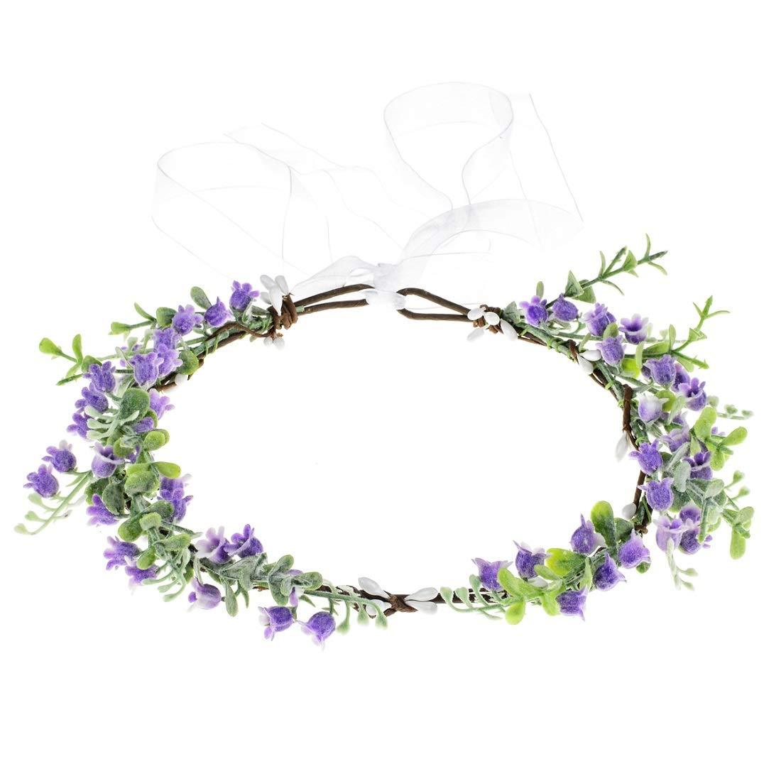Vividsun Bridal Green Leaf Crown Bohemian Headpiece Floral Headband Photo Prop (purple)