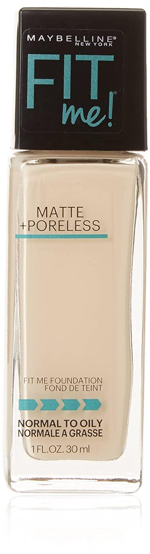 Maybelline New York Fit Me Matte + Poreless Foundation, Porcelain [110], 1 Ounce