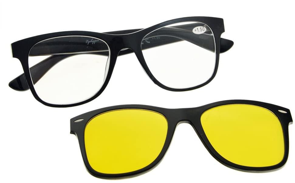 Eyekepper Reading Glasses with Polarized Anti Blue Glare Photochromic Lens Sun Clip Large and Heavy (Black/Clear)