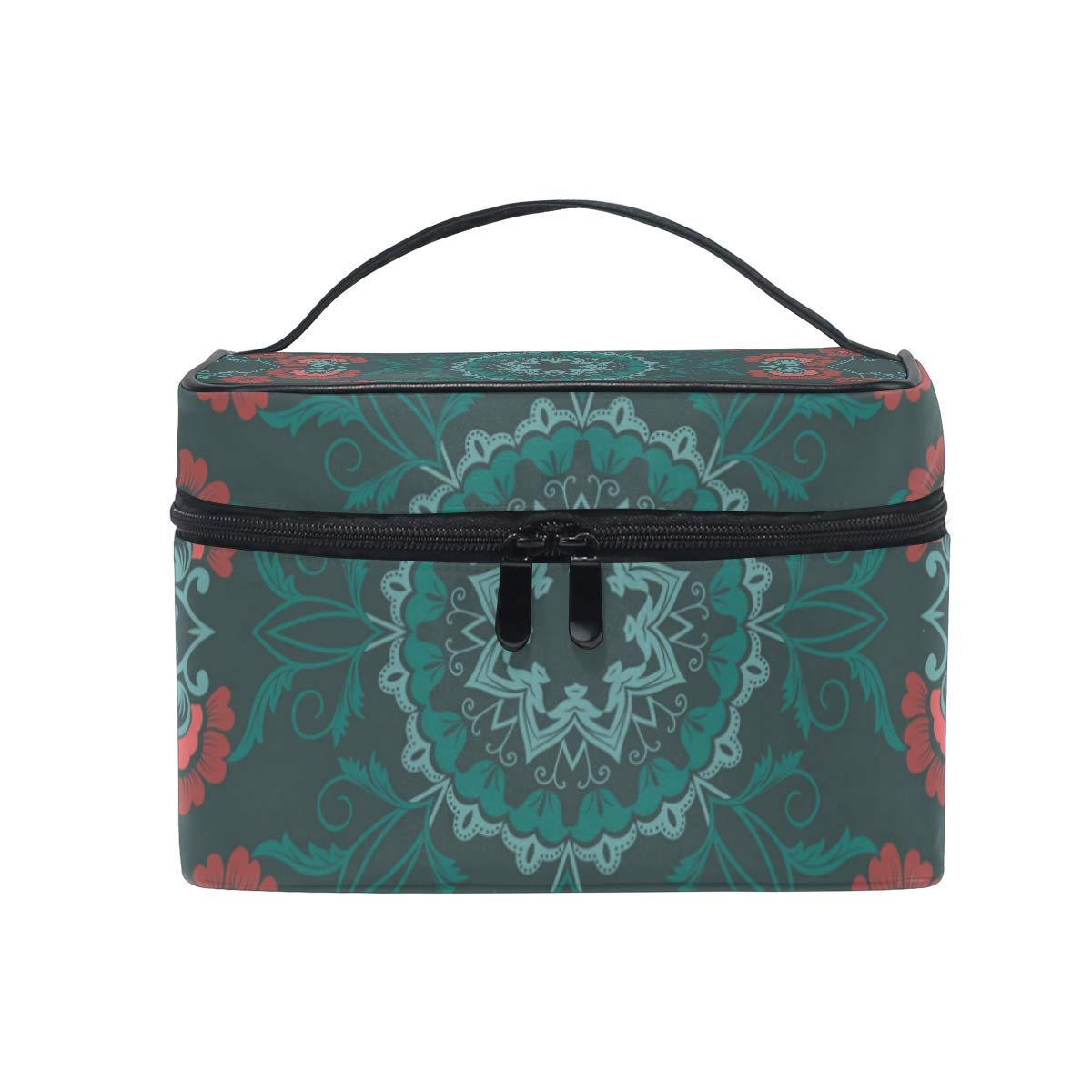 Makeup Bag Vintage Bohemian Floral Embroidery Portable Large Cosmetic Toiletry Brush Bag Travel Train Case Organizer Box Pouch for Girls Women