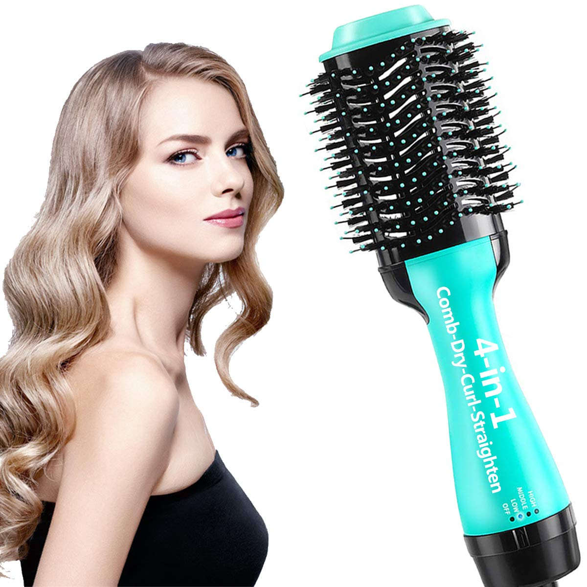 One step hair dryer and styler 4in1 multifunctional Hot air brush straightener-curl-comb-dryer, One step hair dryer and volumizer brush Feature Anti-scald Reduce Frizz & Static Styling (Green+black)