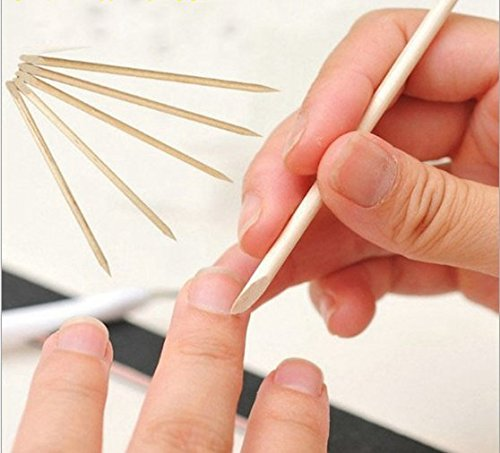 VNDEFUL 100PCS Manicure Tool Orange Stick Multi-Function Double Head Use.Cuticle, A Tool For Trimming Nails.(115MM)