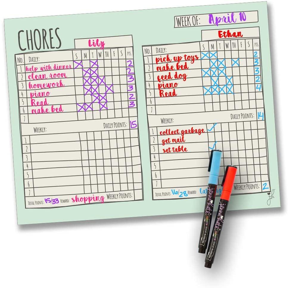 Jennakate - Mint Magnetic Multiple Child Behavior Reward Chore Chart - Daily Household Chore Checklist - Two Child Job Chart - Dry Erase - 18
