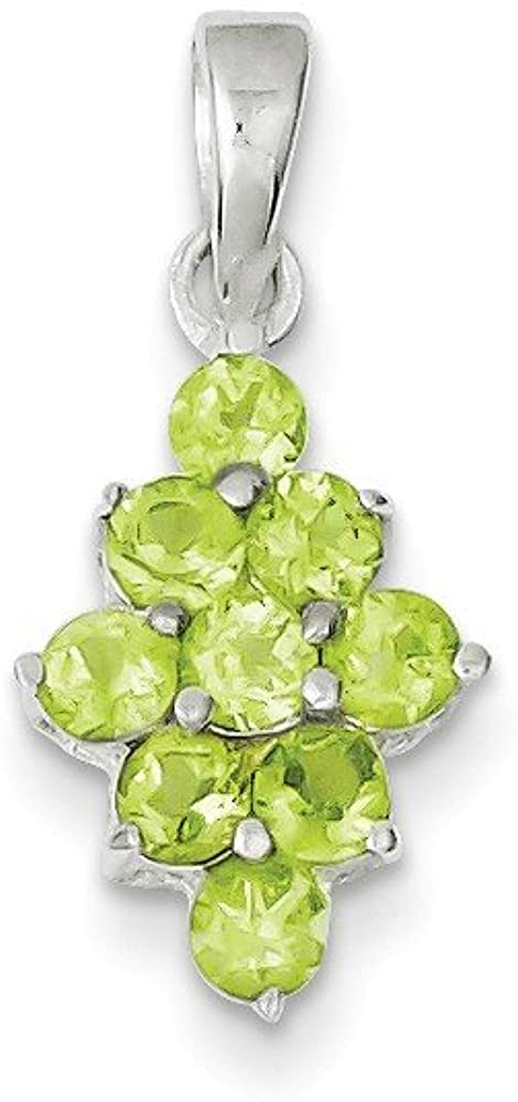 925 Sterling Silver Green Peridot Pendant Charm Necklace Gemstone Fine Jewelry For Women Gifts For Her