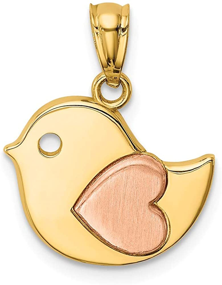 14k Yellow Rose Gold Bird Heart Pendant Charm Necklace Fine Jewelry For Women Gifts For Her