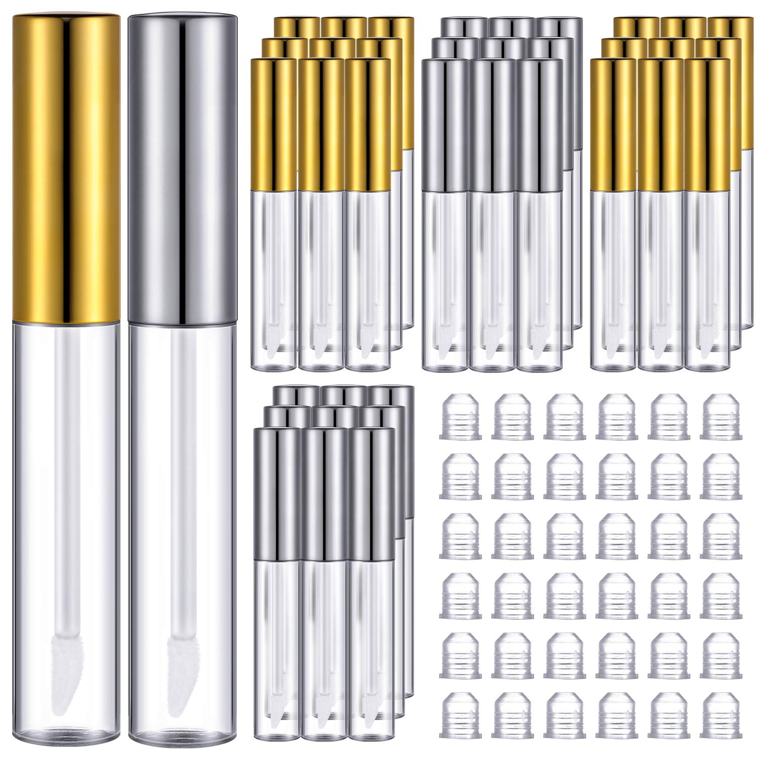 36 Pieces Lip Gloss Tubes with Wand 10 ml 0.34 oz Silver and Gold Empty Lip Gloss Containers Clear Lip Balm Bottle with Rubber Insert Reusable Dispenser Bottle for DIY Lipstick Cosmetic Sample