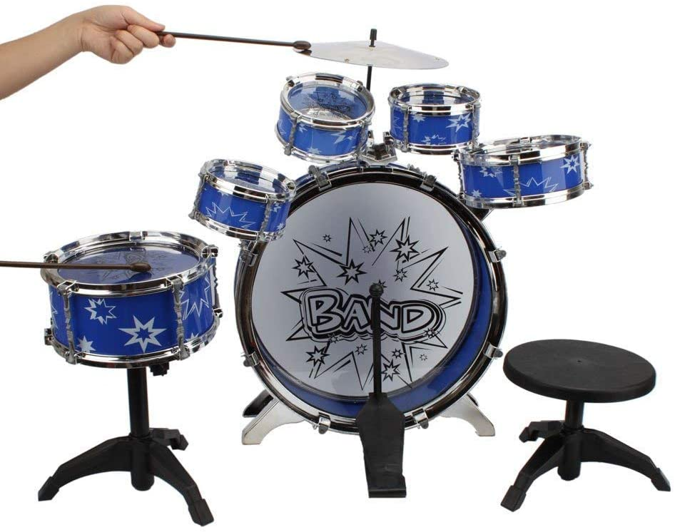 12 Piece Drum Kit for Kids, 6 Drums, Cymbal, Chair, Kick Pedal, 2 Drumsticks, Stool, Musical Instrument Includes Set Drums, Toy for Your Kids