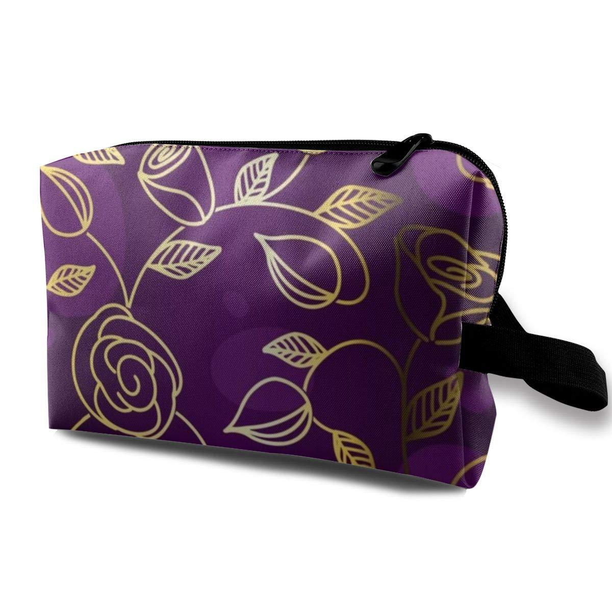 Travel Toiletry Bag Zippers Toiletries Makeup Bag Cosmetic Organizer Shaving Bag (Gold Rose Floral Flower Purple)
