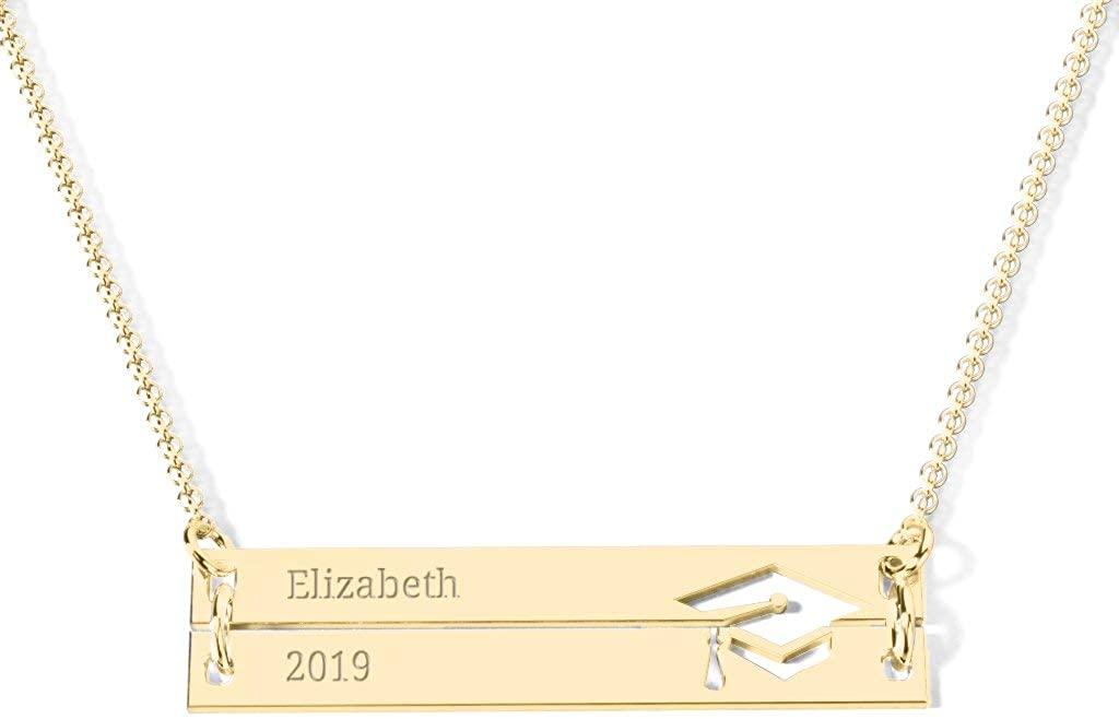 14K Engravable Double Bar Graduation Cap Necklace by JEWLR