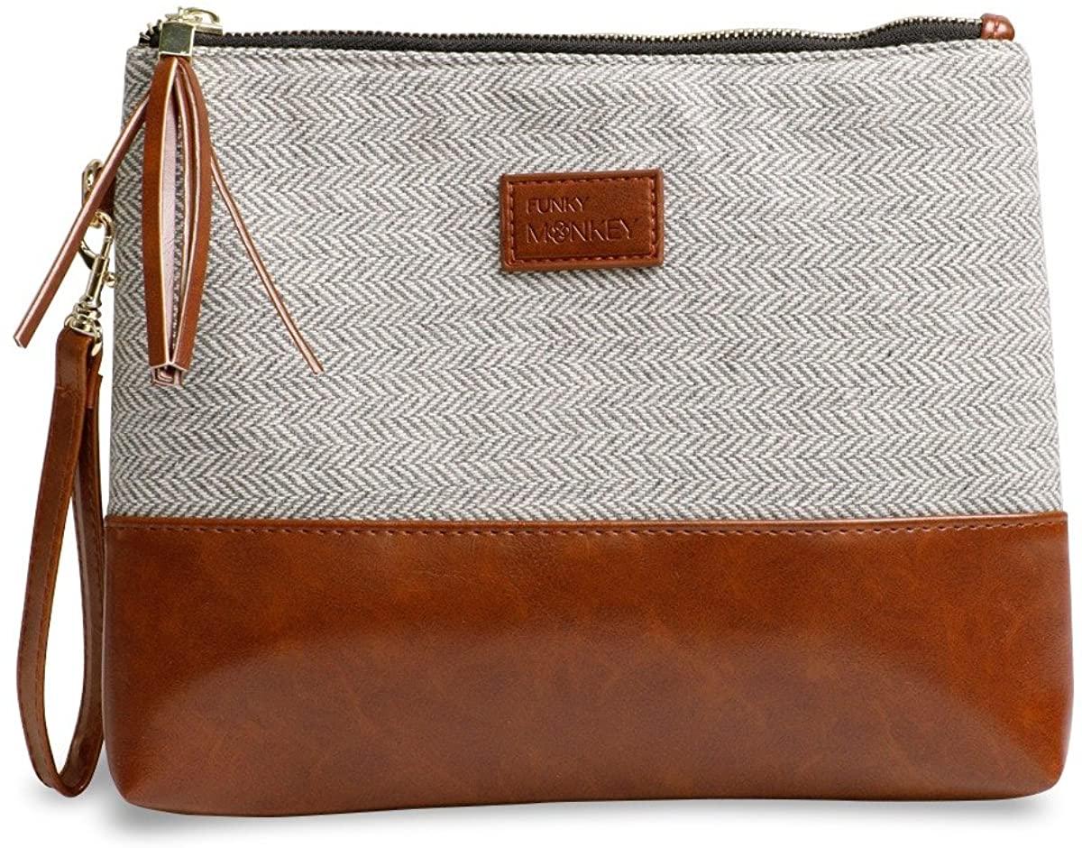 Wristlet Wallet Clutch Bag {Greta-Large} Phone Purse Handbag Gray White Herringbone Funky Monkey Fashion