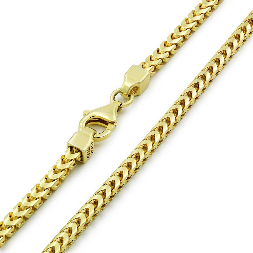 925 Italian Sterling Silver 1mm - 5.5mm Solid Franco Chain, FREE Microfiber Cloth, Yellow Gold Plated Square Box Link Necklace & Bracelet, Giorgio Bergamo