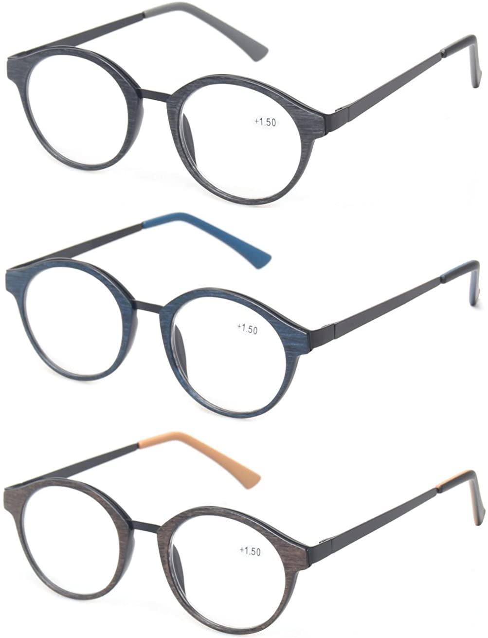 Kerecsen 3 Pack Vintage Metal Round Reading Glasses Classic Wood-Look Readers