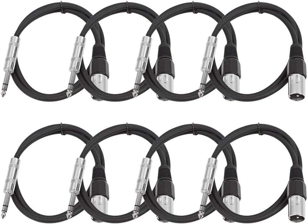 SEISMIC AUDIO - SATRXL-M2-8 Pack of Black 2' XLR Male to 1/4