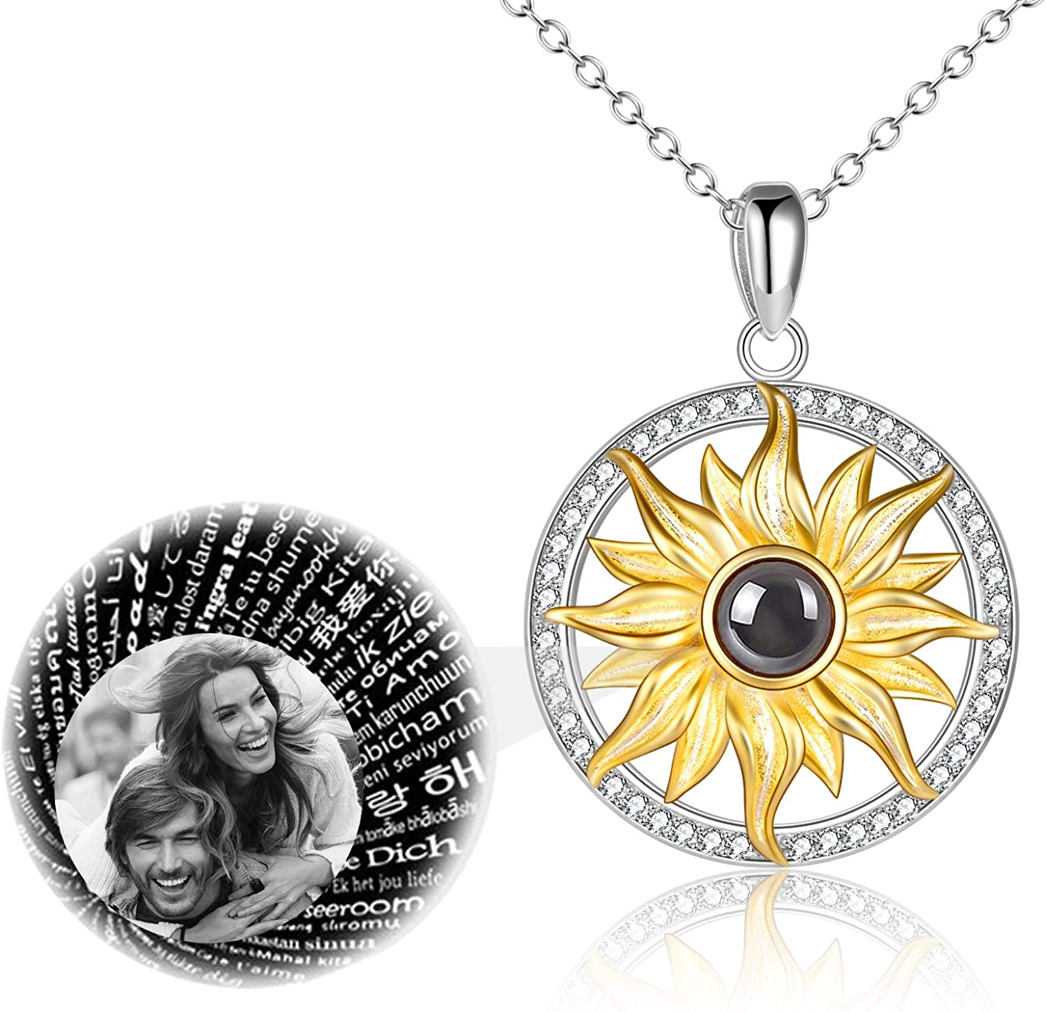 Personalized Sunflower Necklace Sterling Silver I Love You Necklace 100 Languages Memory Projection Necklace Jewelry Gifts