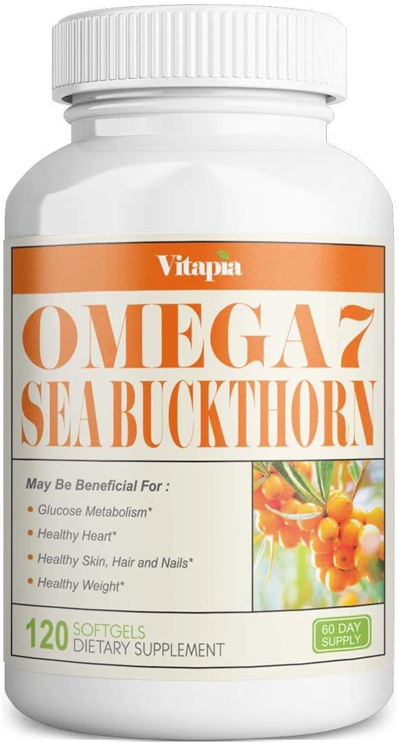 Vitapia Omega 7 Sea Buckthorn 1000mg - 120 Softgels - Natural Sea Buckthorn Oil, No Fish Burp, Omega-7 Palmitoleic Acid, Omega 3 6 9 - Weight Loss, Healthy Heart, Skin, Hair and Nails