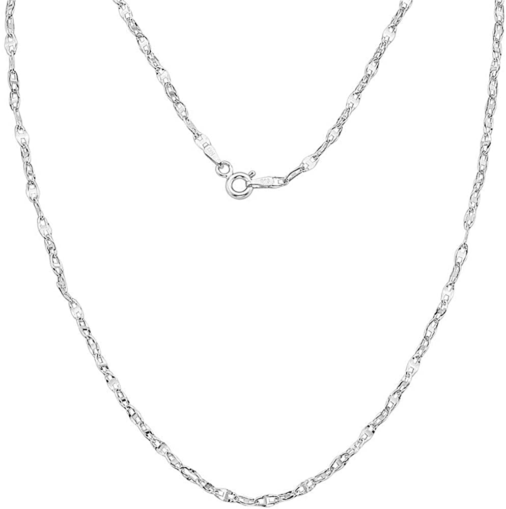 14K Gold 2mm Twisted Mariner/Marina Link Chain Necklace- Choose Your Color - 16