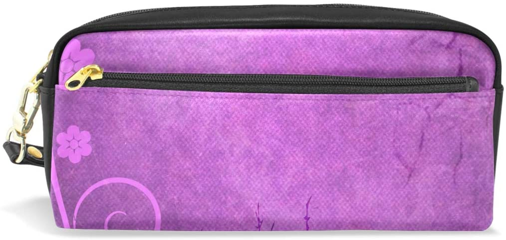Purple Art Leather Student Pencil Case Pen Cosmetic Bag for Girls Makeup Pouch