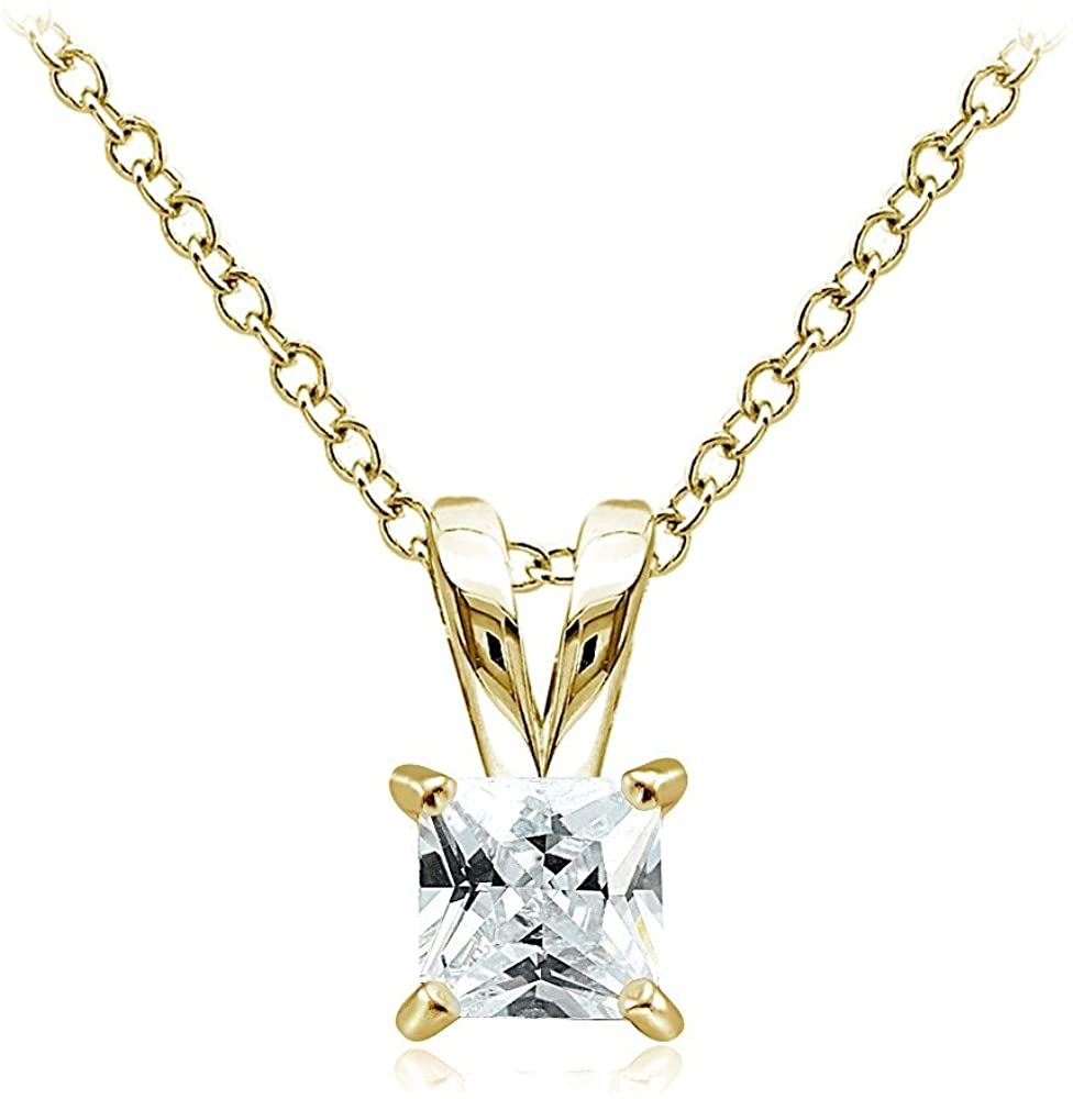 Hoops & Loops Sterling Silver, Yellow Gold Flash or Rose Gold Flash CZ Cubic Zirconia Square Solitaire Pendant Necklace