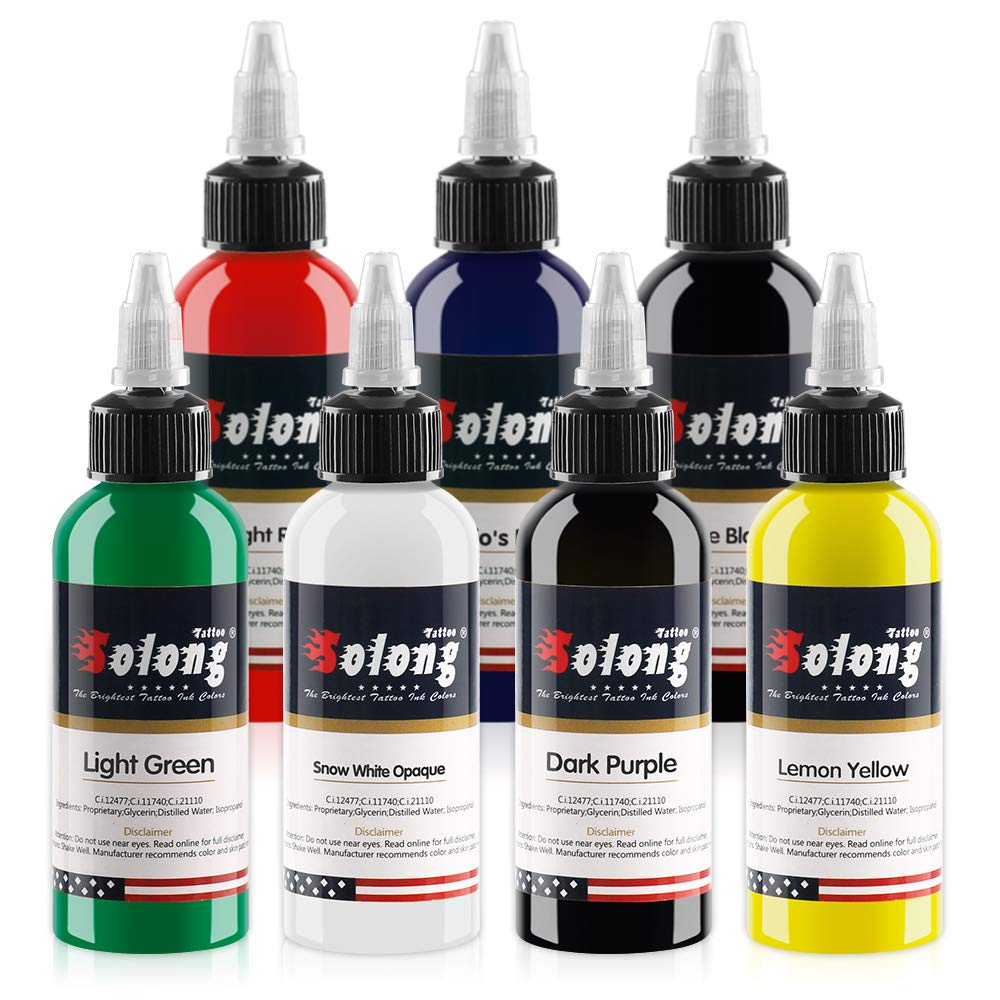 Solong Tattoo Ink Professional Tattoo Ink Set 1 OZ 7 Basic Pigment Kit Colors Original Tattoo Ink Set TI302-30-7W