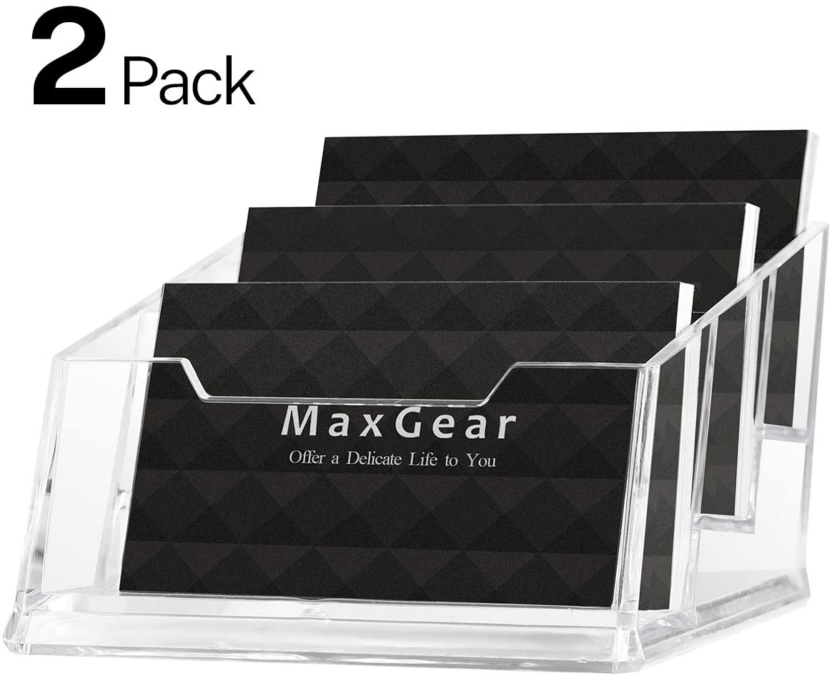 MaxGear Acrylic Business Card Holder Desk 3 Pocket Clear Business Card Display Plastic Business Card Stand Holder Multiple Desktop Business Card with 180 Card Capacity, 2 Pack