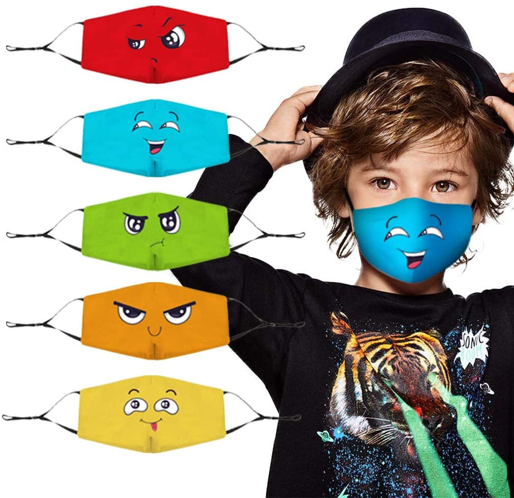 HAJAGP 5Pcs Kids Reusable Face Bandanas, Breathable Cute Print Cotton Children, Washable Face Scarf Headband for Protection Breathable Cartoon Print (B)