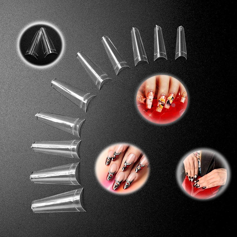 Fake Nails,Long Coffin Nails Ivtor Clear Acrylic Nails Coffin Shaped Ballerina Nails Tips 500pcs Half Cover False Nail Artificial Nails for Nail Salons and Home DIY Nail Art 10 Sizes