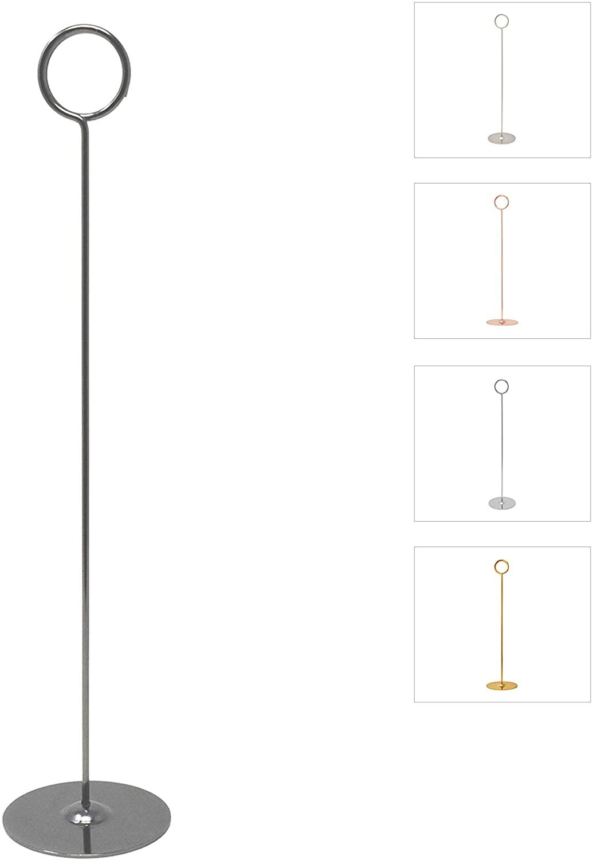Gray Bunny Place Card Holder, 12 in Tall, 12 Pack, Nickel Black, Table Cardholder Tabletop Menu Holder Harp-Clip Number Holder Recipe Holder Reserved Card Holder, for Restaurants and Weddings