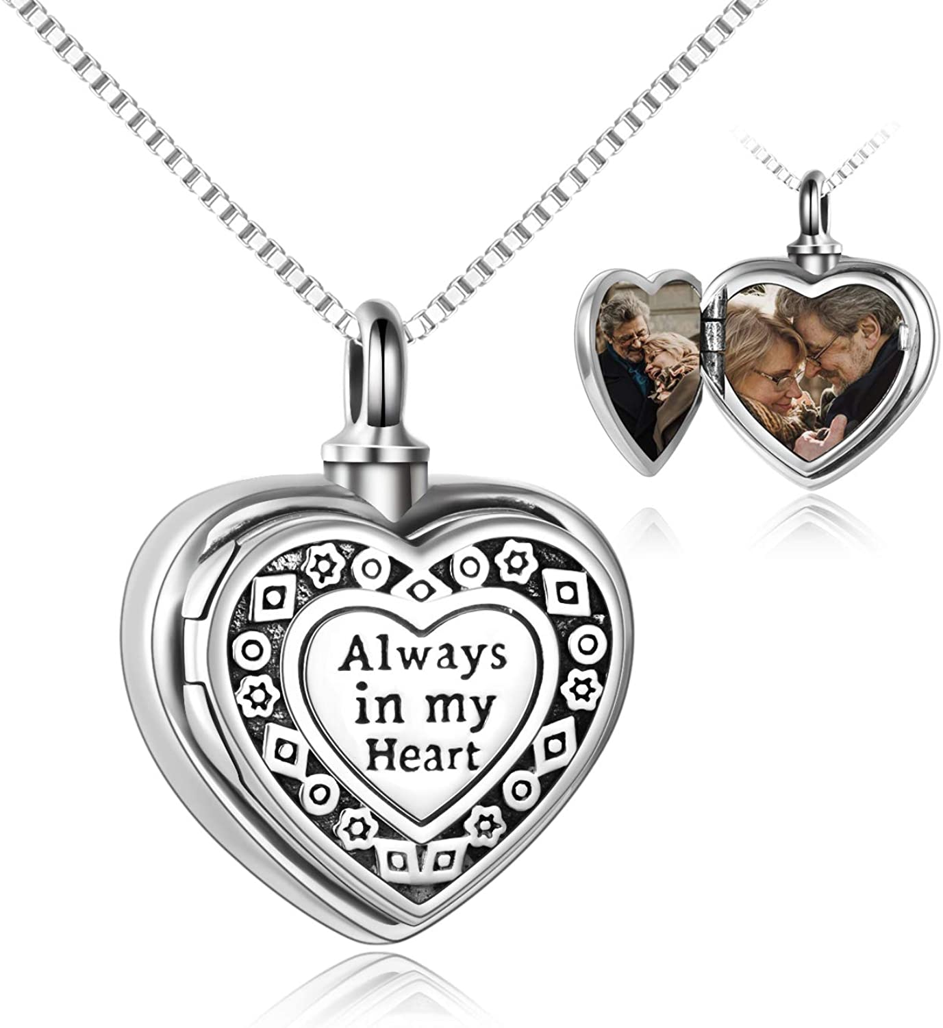 Sterling Silver Always in My Heart Urn Necklace for Ashes Heart Locket That Holds Pictures for Women Ashes Necklace Keepsake Memorial Ash Jewelry