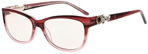 Eyekepper Womens Cat-Eye Computer Reading Glasses-Acetate Frame Blue Light Blocking Readers, Amber Tinted Lenses (Red,+0.50)