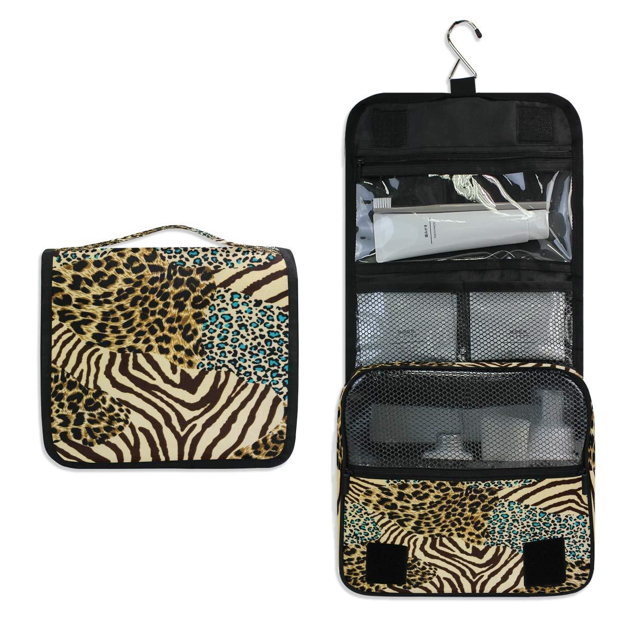 CCDMJ Hanging Toiletry Bag Animal Leopard Print Zebra Cosmetics Makeup Bags with Hook Portable Multifunction Travel bag Wash Bathroom Organizer for Women Girls