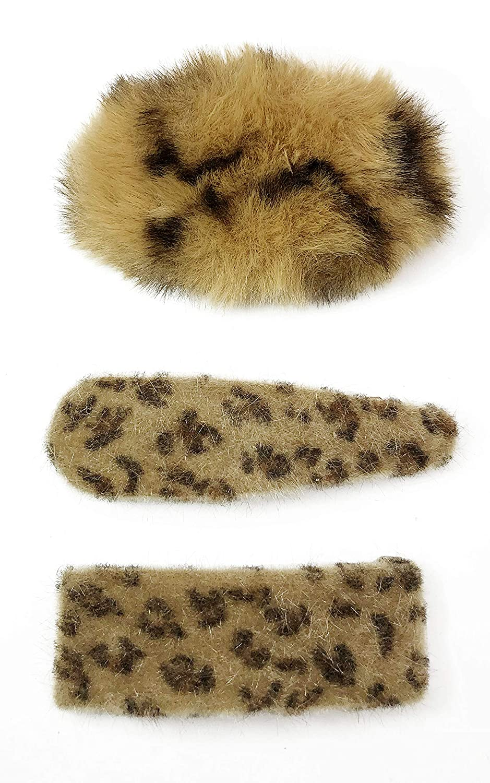 CRIZAN Women Girls Leopard Plush PomPom Snap Hair Clip Pin Phone Cord Tie Barretter Accessories SET (3pcs Brown Leopard)