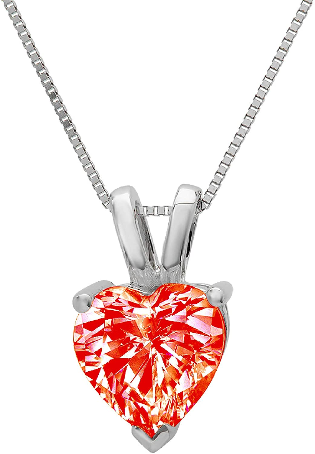 0.45 ct Brilliant Heart Cut Red Simulated diamond Cubic Zirconia Ideal VVS1 D Solitaire Pendant Necklace With 16 Gold Chain box Solid Real 14k White Gold