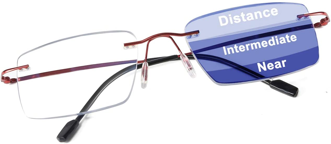 FEISEDY Rimless Progressive Multifocus Anti-Blue Light WOMEN MEN Reading Glasses Computer Reader B9002 (Red, 2.0x)