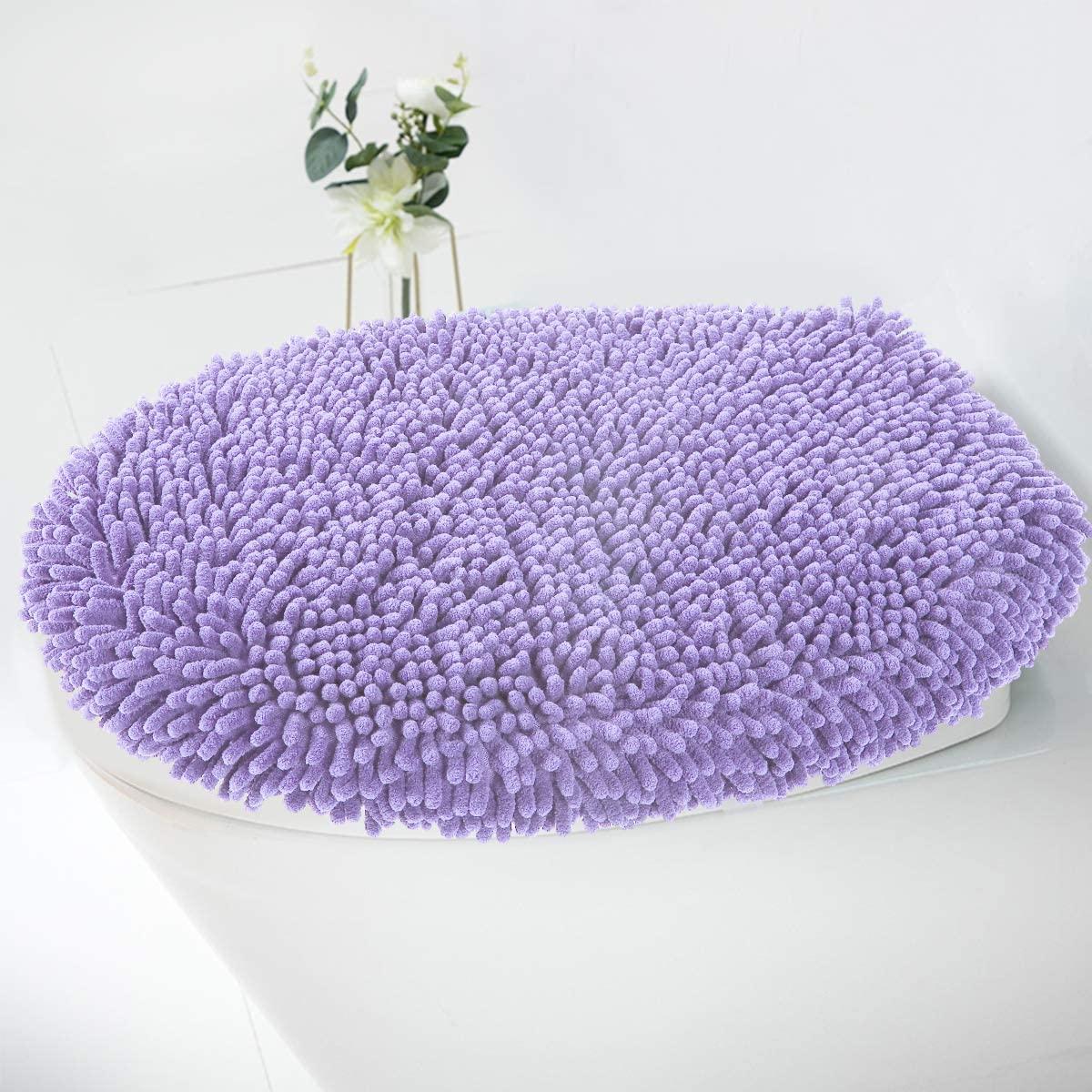 MAYSHINE Seat Cloud Bath Washable Shaggy Microfiber Standard Toilet Lid Covers for Bathroom -Lavender