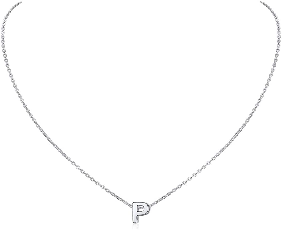 ChicSilver 925 Sterling Silver Letter A-Z Pendant Necklace, Dainty Small Initial Necklace for Women, Silver/Gold (with Gift Box)