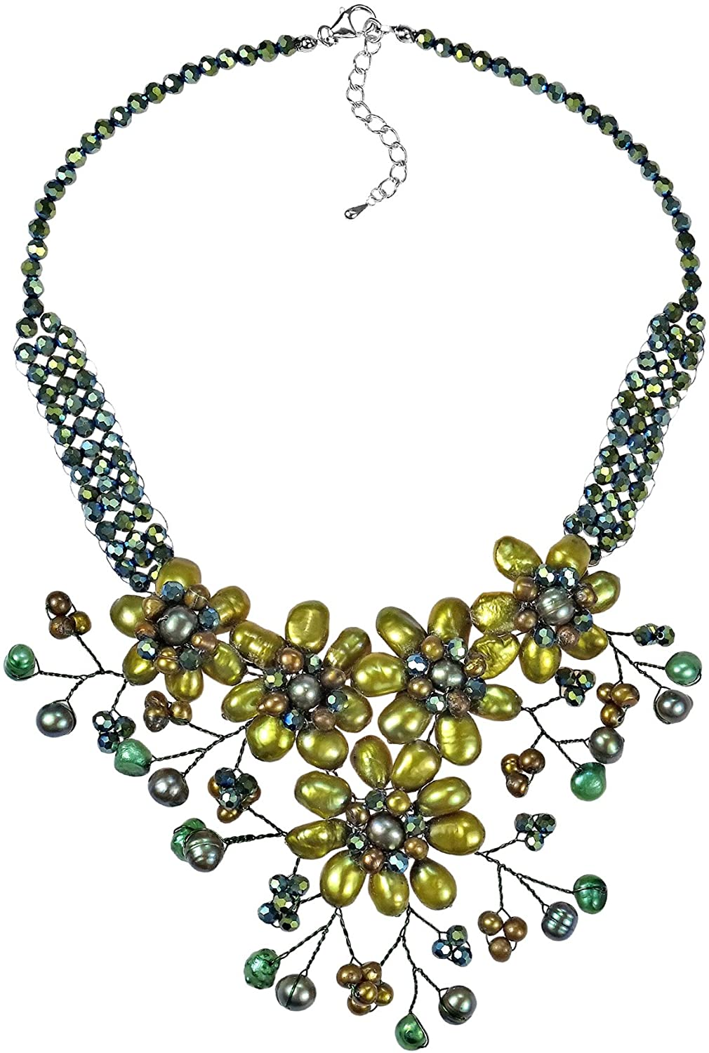 AeraVida Green Sunflower Floral Blossom Cultured Freshwater Pearl Necklace