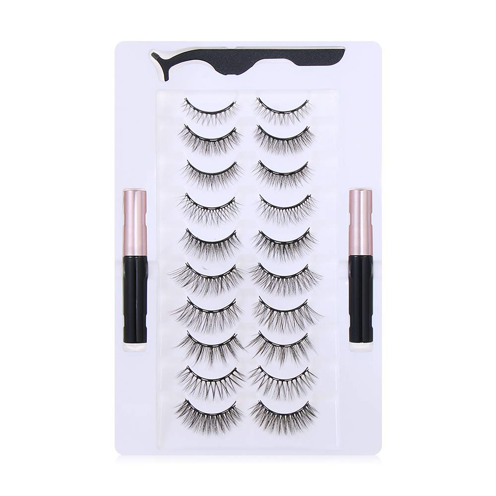 Mixed Magnetic False Eyelashes and Eyeliner Set, 10Pairs Waterproof Magnet Fake EyeLashes Eye Extension Liquid Eyeliner & Tweezer Set(Set 1-Natural)