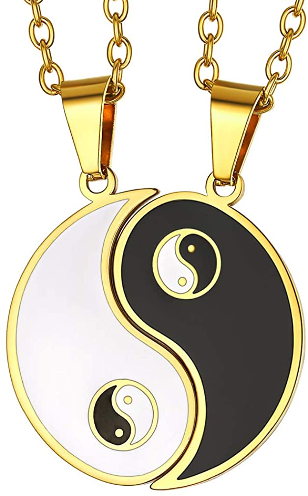 FaithHeart Yin Yang Necklace, Personalized Engraving Stainless Steel/18K Gold Plated Puzzle Pendant Jewelry for Couples with Adjustable Rolo Chain