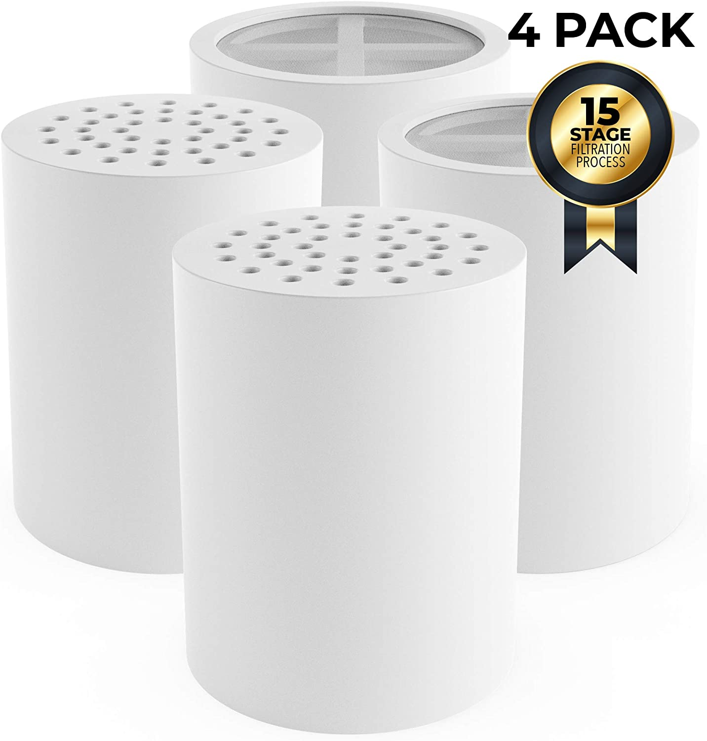 15 Stage replacement Shower Filter Water Purifier Cartridge – Showerhead Water Softener - Remove Chlorine, Fluoride, Hard Water, Rust, Mineral Buildup - Adds Vitamin C and E (4 Pack)