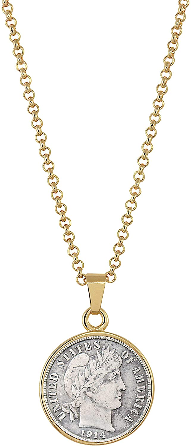 American Coin Treasures Silver Barber Dime Goldtone Coin Pendant with 18 Chain Necklace - Genuine and Elegant Keepsake Jewelry for Women | White Luxury Gift Box Included