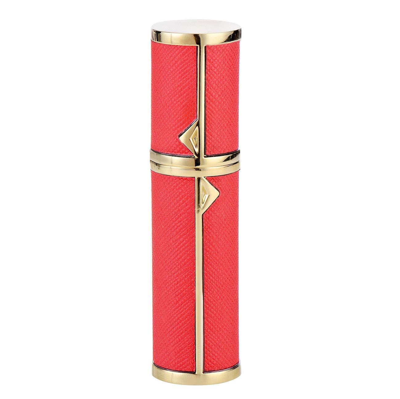 5ml Portable Mini Refillable Perfume Bottle, Leather & Metal Perfume Spray Atomizer for Travel (red)