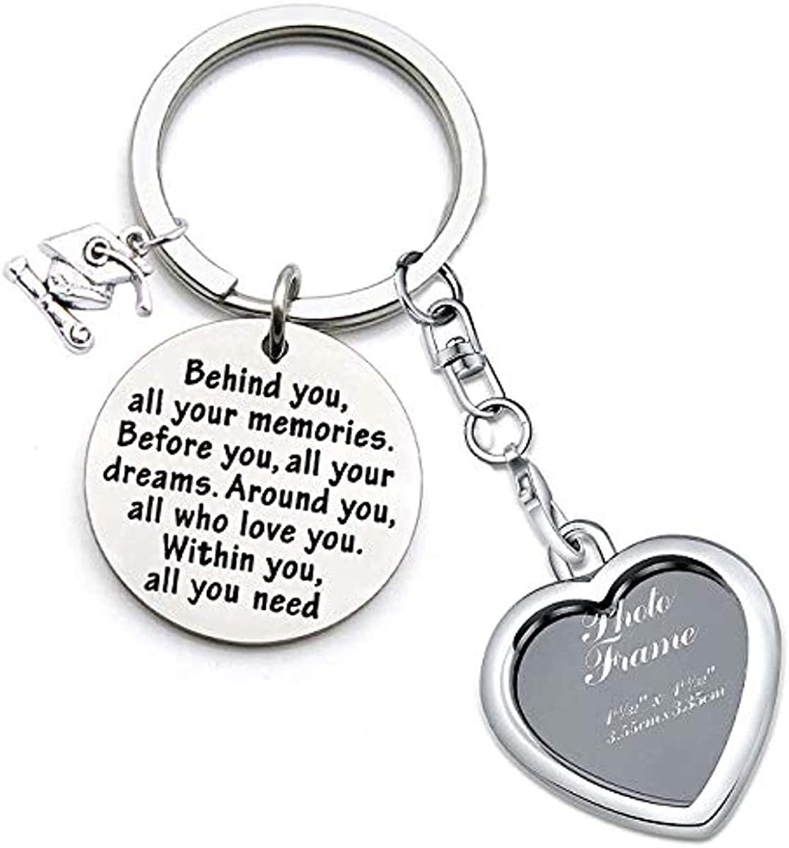 SNOWLIN Compass Jewelry Graduation Gift Inspirational Keychain Gifts Compass Necklace Graduation Gifts for Her/His 2019 You All Your Dream Graduation Keychain/Necklace
