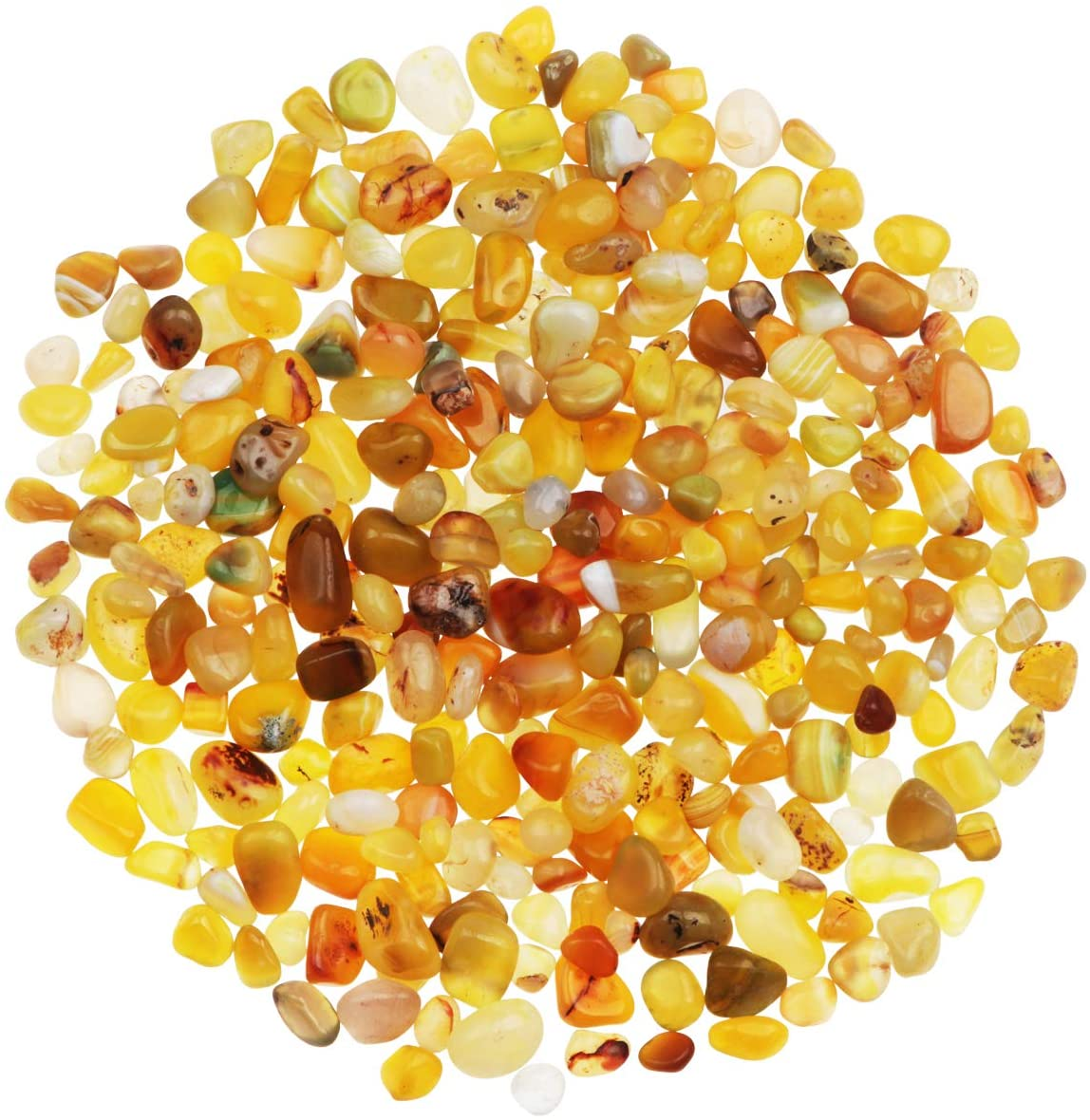 YiYa 0.68 lb Yellow Agate Stone Tumbled Stones Gemstone Natural Crystal Quartz for Home Decoration Vase Filler Swimming Pool Bottom Decoration (About 310g/Bag)