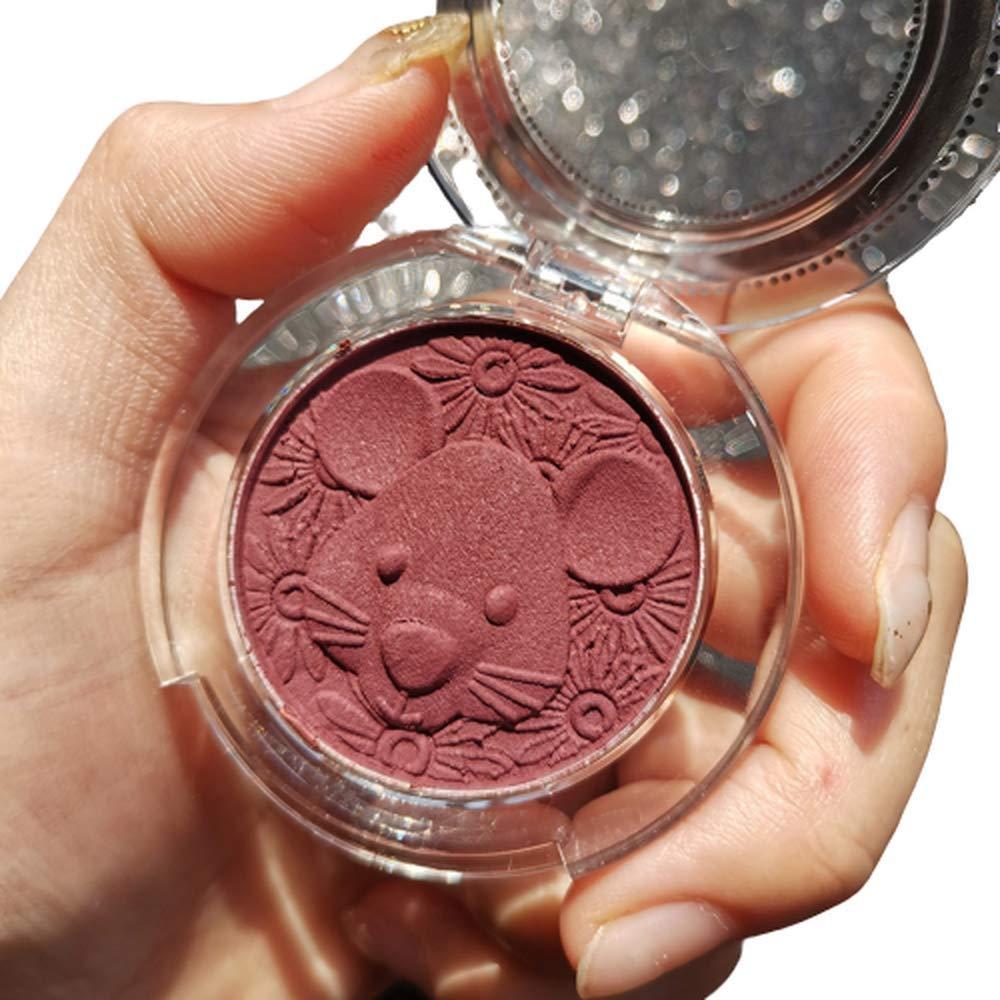 Cute mouse carving blush color palette, board face contour blush, blush shimmer glitter, bronze palette (02)