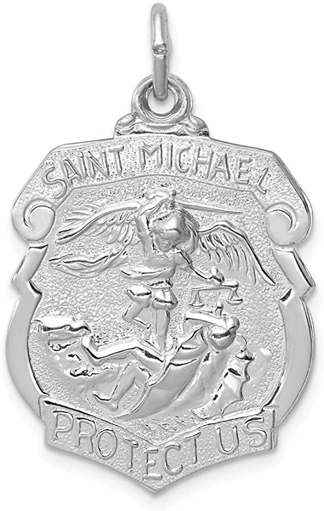 925 Sterling Silver Solid Polished Rhodium plated Engravable (back only) Saint Michael Badge Medal Pendant Necklace Jewelry Gifts for Women