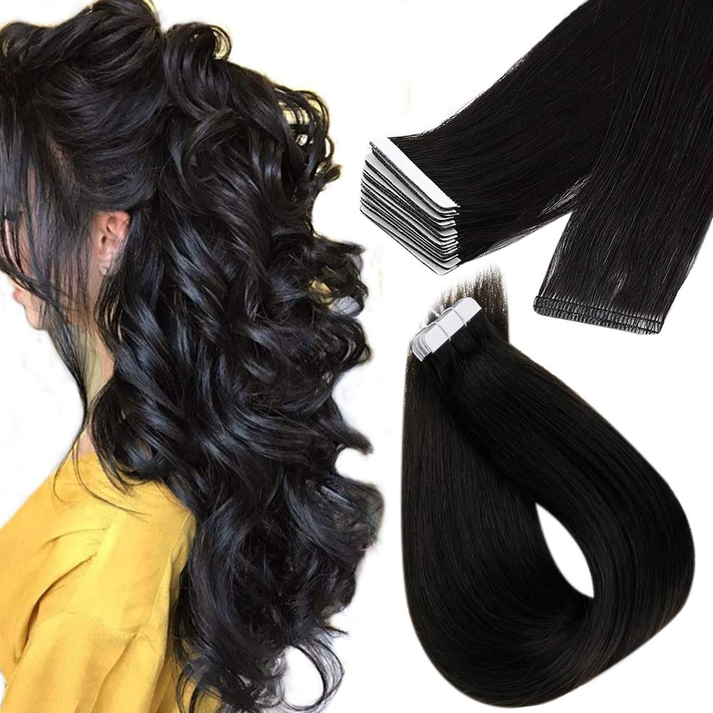 RUNATURE Tape Hair Extensions Injected Skin Tape Hair Human Hair Extensions Off Black 22 Inches 5pcs for Women