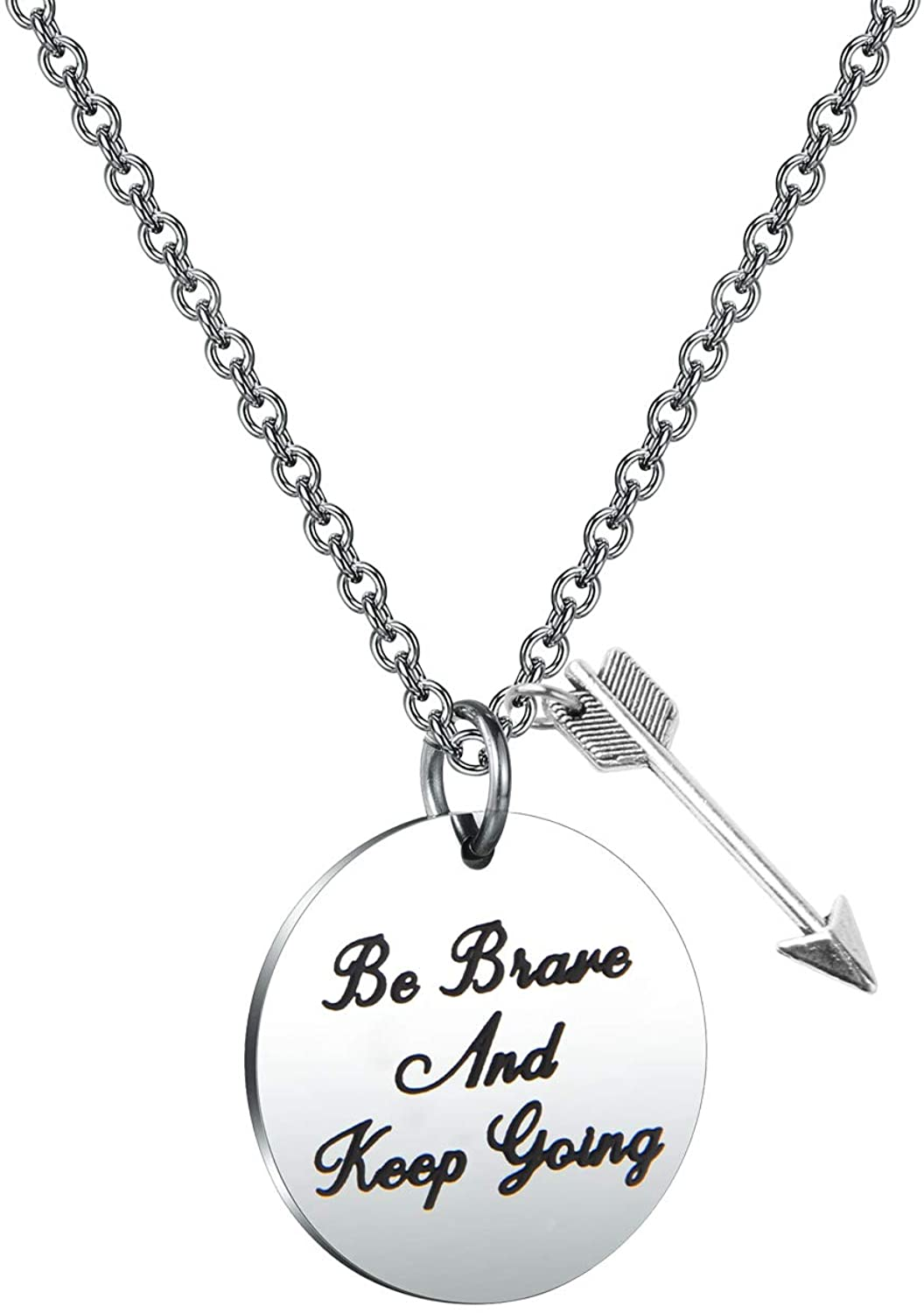 MAOFAED Inspiration Gift Be Brave and Keep Going Encouragement Jewelry Gift for Women Teen Girls Gift for Her